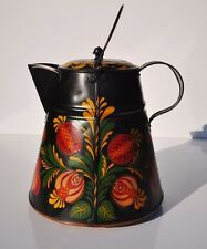 Large Antique Tole-Ware Painted 1800's Tin-ware Coffee Pot, Dutch Style Folk Art