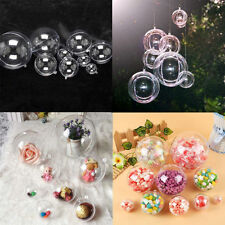 15x Clear Plastic DIY Craft Ball Ornament Christmas Tree Party Decoration Gifts#