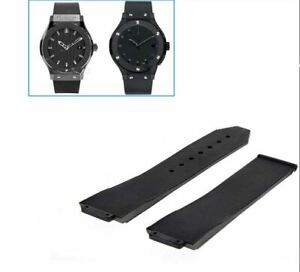 25MM RUBBER REPLACEMENT BAND STRAP FOR HUBLOT 44-45 H BIG BANG FUSION BLACK