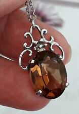 VINTAGE Beautiful Sterling Silver Citrine Pendant and Chain 17 ins Gemstone