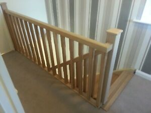 Oak Staircase Chamfered Spindle Complete Landing Banister Set Incl. Newel Posts