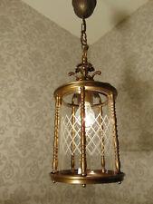 antik  Laterne Kronleuchter Lüster Bronze Messing  Glas Frankr. ca. 1930