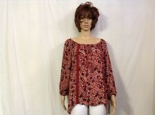 Women's Lace Trim Floral Print Top By Knox Rose Rasberry Size Small