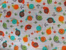 WtW Fabric Creatures & Critters 15142 Mushrooms Dots Snails Mod Kaufman Quilt