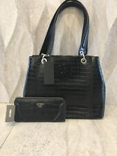 GUESS Kamryn Carryall Tote SHOPPER Handbag   Wallet Purse Set Croc Embos  Black 79cdafea0ee8e