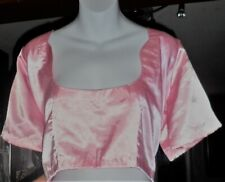 Womens Indian Choli Sari Saree Top Blouse Pink Satin Short Sleeves 2X