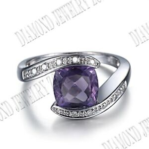10K White Gold Fine Jewelry Cushion 8x8mm Amethyst Natural SI Diamonds Gift Ring