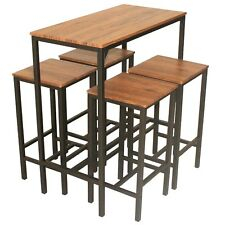 Mod. IBIZA Set Tavolo Bar e 4 Sgabelli Marrone H.97cm Cucina Arredo Sedia Design