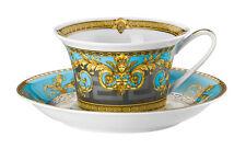 VERSACE PRESTIGE GALA BLEU CUP & SAUCER SET TEA COFFEE ROSENTHAL RETAIL $330
