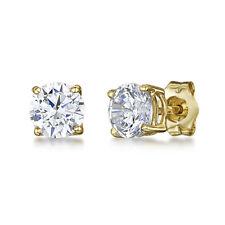 Stainless Steel Stud Earrings Cubic Zirconia Round Men Women 2PC Gold CZ Earring