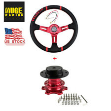 Us Red 14 Deep Dish Drifting Steering Wheel Amp Quick Release Adapter Racing Car