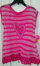 NWT $45 Youngland Girl's Size 6 Pink shirt Heart with Bling ruffles open back