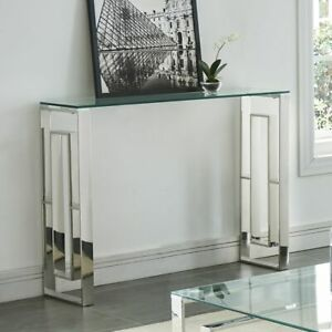 Eros Metal & Glass Console/Desk in Chrome or Gold Finish