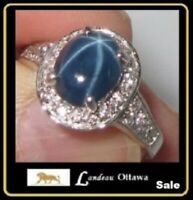 3.10 ct 6 Rays Blue Star Sapphire Silver Ring