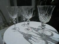 "Set of 5 Clear Crystal Wine Goblets 6 7/8"" Tall"