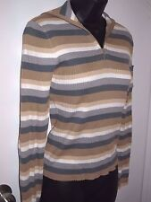 Jacob Connexion Size Medium Womens Long Sleeve Beige Sweater Striped Zip