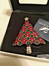 Signed Swan Swarovski 2003 Poinsetta Christmas Tree Brooch Pin