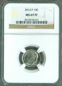 2014 P ROOSEVELT DIME NGC MS 67 FT QUALITY✔️