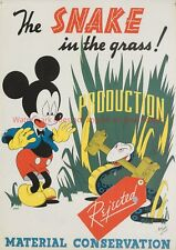 WWII Poster Mickey Mouse Material Conservation US military print vintage WW2 Art