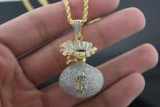 Mens Yellow Gold Plated Hip Hop Iced out CZ Money Bag Pendant with Rope Chain