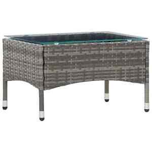 vidaXL Coffee Table Grey Poly Rattan Outdoor Garden Patio Tea Tables Furniture