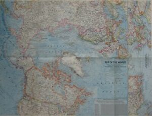 1965 Map TOP OF THE WORLD North Pole Arctic Circle T-3 Ice Island Glaciers Peary