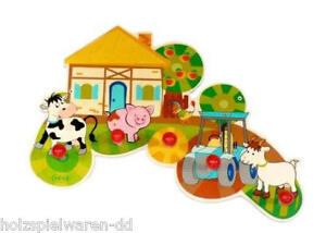"Hess 30304 Children's Wardrobe "" Farm "" 5 Hook 38 CM Erzgebirge New! #"