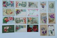 LOT OF 18  HAPPY BIRTHDAY GREETINGS ANTIQUE  POSTCARDS