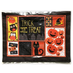 """Happy Halloween Trick or Treat 18"""" x 13"""" Textured Polyester Placemats Set of 4"""