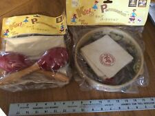 WOODEN TAMBOURINE AND MARACAS WITH CANVAS STORAGE BAGS