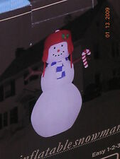 Christmas Holiday Inflatable Snowman Candycane Hat Scarf Light-Up 8' Tall