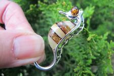 Amber Crystal Seahorse Pendant two tone Silver stamped 925 Fossil luck courage
