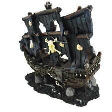 Aquarium Decor Sunk Wreck Ship Pirate Damaged Boat Fish Tank Cave Stone Ornament
