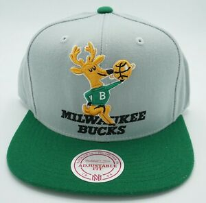 NBA Milwaukee Bucks Mitchell & Ness Adult Structured Adjustable Cap Hat M&N NEW!