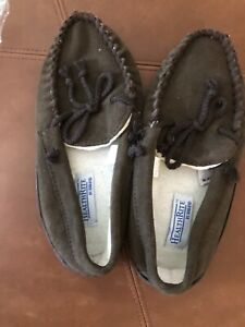HealthRite by Haband Moccasins Men's Size 7.5 D Brown Suede Lounge Slippers