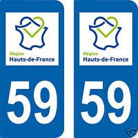 2 STICKERS style IMMATRICULATION Département HDF 59 HAUTS DE FRANCE