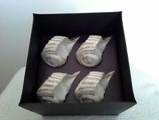 Pottery Barn Stoneware Shell Napkin Ring New In Box Set Of Four