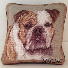 """Bulldog Needlepoint Pillow 10""""x10"""" NWT"""