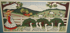 Vtg Dimensions GIRL AND GEESE Counted Cross Stitch Kit Country Farm Scene Sheep