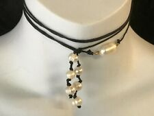 TERRA FABULOUS MULTI BLACK CORD PEARL NATURAL STONE FEATURE CHIC CHOKER NECKLACE