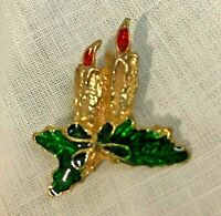 Vintage Enamel and Metal Christmas Candle Pin Brooch Gold Tone Holly