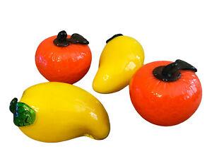 Hand Blown Glass Fruit Orange Banana Pepper Yellow Lot 4 Kitchen Decor