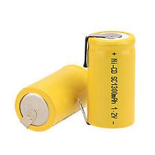 2pcs Per Set 1.2V 1300mAh Sub C SC Ni-Cd NiCd Rechargeable Battery -Yellow Color