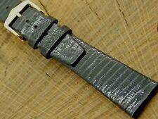 Gilden NOS Vintage Black Lizard Unused Watch Band w Gold Tone Buckle 20mm Long