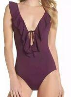 NWT Becca Women's Socialite Ruffle One-Piece Swimsuit Purple Size S