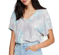 Free People Womens Tops Gray Blue Small S Tie-Dye V-Neck Cutout-Back $68- 145