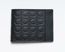 Salvatore Ferragamo NWT Black Gancini Vitello Leather Bifold Slim Wallet