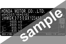 Honda Data Sticker Pillar VIN Tag Dash ID Door Jamb Decal Certification Label