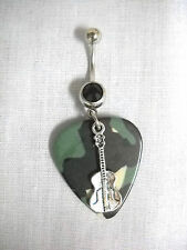 Charm 14g Black Cz Belly Button Ring Backwoods Camo Guitar Pick & Classic Guitar