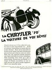 Publicité Ancienne   Voiture Chrysler 70 - 1927  P. 22